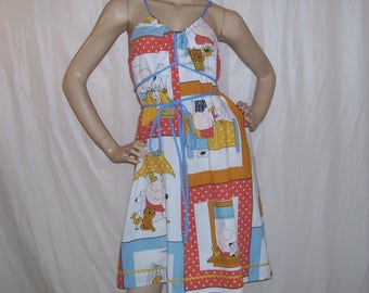 Ziggy Sundress OOAK Upcycled Vintage Fabric Convertible Dress Adult Geek Ziggy Cartoon Maternity Cruise Resort Adult S M L XL Choose Size