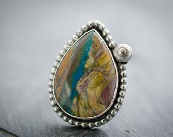 Peruvian Opal Ring. Teardrop Cabochon. Sterling Silver Statement Ring. Size 6 Ring. Teardrop Gemstone. Opal Ring. Peruvian Opal Gem