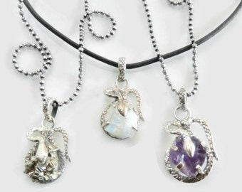Raw Crystal Necklaces, Sterling Silver Snake Pendants, Blue Flash Moonstone, Golden Pyrite Crystal, Purple Raw Amethyst