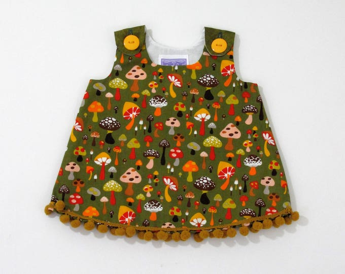 Mushroom Fairy Ring Newborn Baby Girls Dress, Green, Gold & Rainbow Magical Mushroom Forest, Size Newborn, Children's Clothing Baby Girls