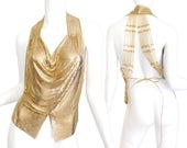RESERVED 1980s Whiting and Davis Gold Chain Mesh Halter Top - Designer Vintage Women's Glam Ferrera Beaded Pearl Detail Formal Evening Top