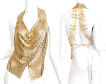 Rare 1980s Whiting and Davis Gold Chain Mesh Halter Top - Designer Vintage Women's Glam Ferrera Beaded Pearl Detail Formal Evening Top