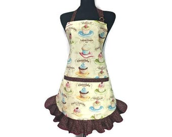 Retro Style Cupcake apron for girls, Adjustable with Chocolate trim and pockets, Flirty apron, cupcake bakery, Retro Kitchen Decor