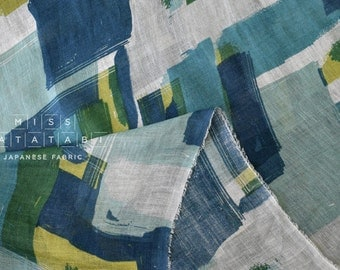 Japanese Fabric - Linen Gauze - abstract squares - blue, green - 50cm