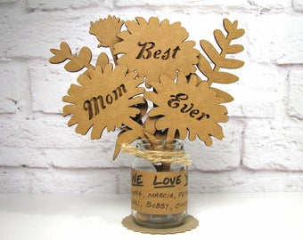 Gifts For Mom BEST MOM EVER Mothers Day Birthday Cardboard Flower Bouquet In Mini Mason Jar