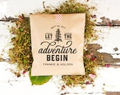 Let the Adventure Begin - Personalized Wedding Favor Bag - Trail Mix, Mountain, Camping, Yosemite, Yellowstone, Hiking, Woods - 20 Kraft Bag