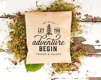 Let the Adventure Begin - Wedding Favor Bag - Trail Mix , Mountain, Camping, Yosemite, Yellowstone, Hiking, Outdoor, Woods - 20 Kraft Bags