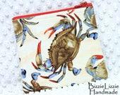 Handmade Blue Crab Fabric and Sea Glass Medium Zipper Pouch, Zipper Top Wallet Pouch, Accessory or Gadget Pouch