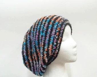 Knitted slouchy hat colorful large size  5267