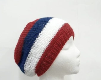 Knitted Beanie hat Red White and Blue with sparkle  5255