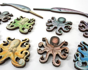 Collection of 8 Wooden Octopus and 2 Bonus Narwhals
