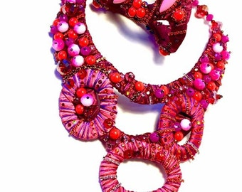 Reserved for Joanne , red-pink tone Statement Bracelet, rhinestone fantasy couture, pink and orange tones