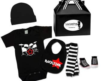 Baby Punk Rock Gift Set - Drums Onesie, hat, Rockstar bib, Sneaker booties & leg warmers Kit
