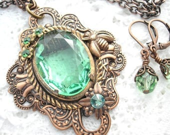 Copper Fields - Peridot Green Glass Jewel Pendant and Earrings - Antiqued Copper Pendant