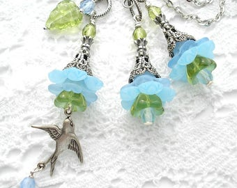 Garden Party Blue Flower Pendant and Earrings - Antiqued Silver Pendant and Earrings