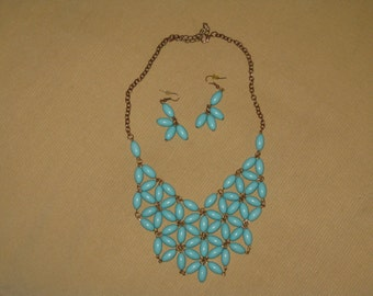 Turquoise bead necklace and earrings