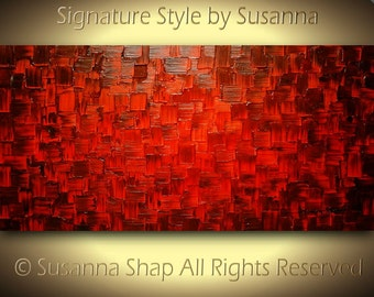 ORIGINAL abstract red painting thick texture wall art modern palette knife canvas by susanna