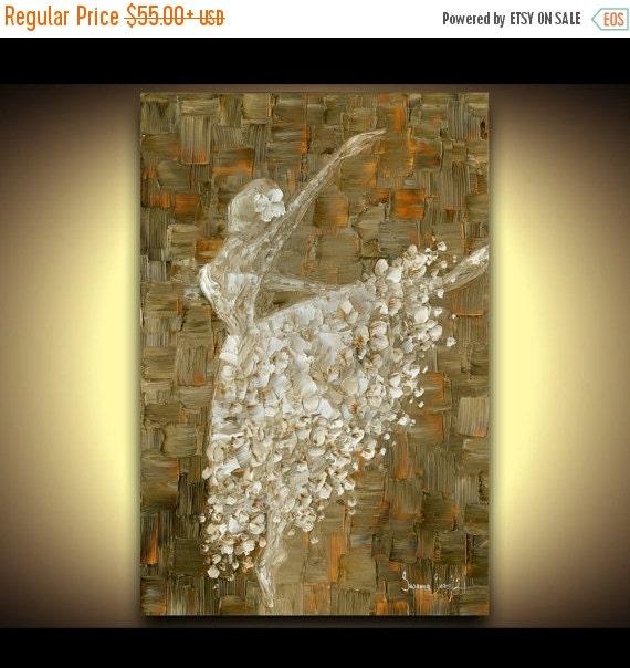 ballerina contemporary print on canvas picture abstract modern wall art decor dance ballet dancer white brown by susanna