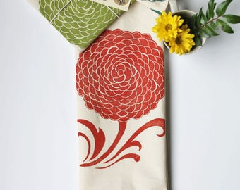 Mum Block Printed 100% cotton Flour Sack Towel- Made in Seattle