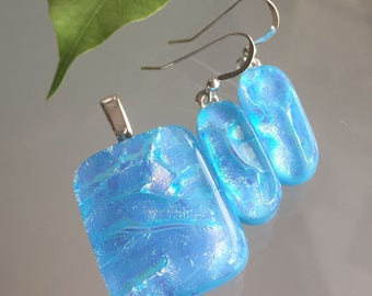 Blue Fused Dichroic Art Glass Jewelry Pendant Earrings Matching Set Handmade FREE SHIPPING