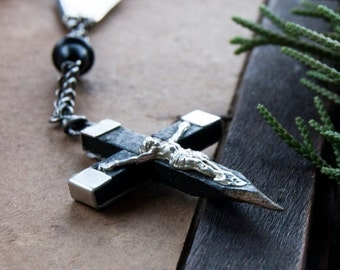 50% OFF Vampire Hunter Wooden Cross Stake Necklace / cross necklaces for men / occult gothic edgy jewelry / Men's Vampire Necklace / Cross N