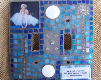 Mosaic Light Switch Cover Double- Marilyn Monroe - We Are All Of Us Stars...
