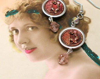 """1800s Antique BUTTON earrings, Victorian flower buttons. One of a kind jewellery, 2""""."""