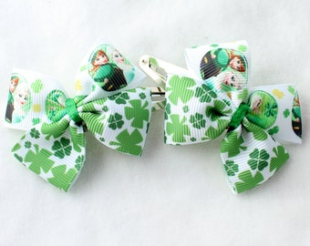 A Pairs of Little Frozen St. Patrick's Day Hair Bows with Clips