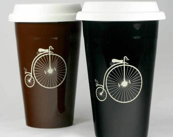 SALE - Penny Farthing Bicycle Travel Mug -  velocipede bike coffee cup