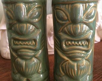Vintage Blue Green Tiki Glasses Vase Barware Polynesiana epsteam