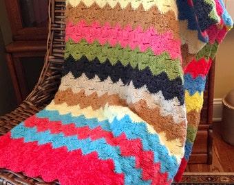 Crochet Afghan - Multi-Color Stripe Throw - Crochet Blanket - Soft Warm Throw Blanket - Cokorful