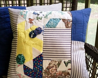BIG SALE - Vintage Quilt & Blue Ticking Pillow -  Patchwork Pillow - Multi Country Quilt Pillow Cover - Yellow Farmhouse