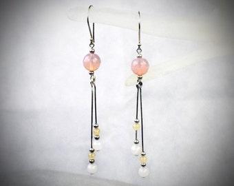 Pink Blush Drops - Pink Blush Earrings - Pink Blush Dangles - Extra Long Earrings - Very Long Earrings Pink Blush Droplets Long Pink Dangles