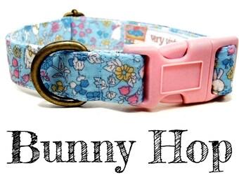 "Light Blue Floral Spring Bunny Rabbit Dog Collar - Girl Dog Collar - Organic Cotton - Antique Brass Hardware - ""Bunny Hop"""