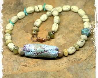 Rustic short boho stone necklace with handmade clay focal bead, Earthy neutral bohemian necklace, Tribal beaded necklace for her,
