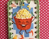 Vintage Playing Card Book Mark / Ornament / Tag -  Crochet Dandy Candy - Pop Corn