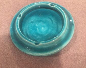 Persian turquoise glazed ceramic ashtray