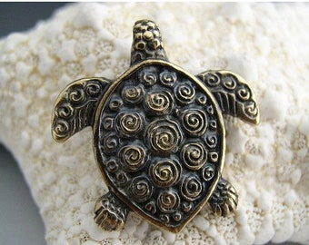 TAX SALE Naos - Sea Turtle Pendant - Mykonos Greek Pendant Antiqued Brass - Double Sided with Spirals