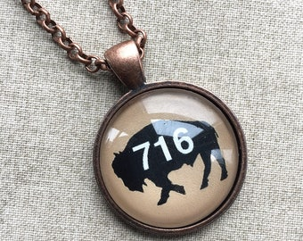 Long Necklace - 716 Buffalo NY Necklace - Buffalo Art - Buffalo Jewelry - Buffalo NY - Buffalove - Buffalo Gift - Buffalo Pendant