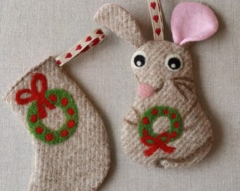 Set of two handmade Christmas decorations ornaments little mouse and stocking