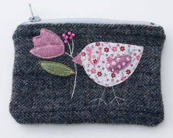 Zippered purse pouch purse dark gray wool fabric with rawedge applique birdie bird flower