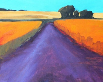 Western Landscape Painting, Original Semi-Abstract, 12x12 Canvas, Summertime Acrylic, Orange Fields, Purple Road, Trees, Blue Sky, Square