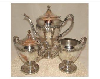 Vintage Silver Plated Tea Set, Teapot, Cream & Sugar by FB Rogers 1402, 30s, silverplated, creamer, sugar bowl, tea party set