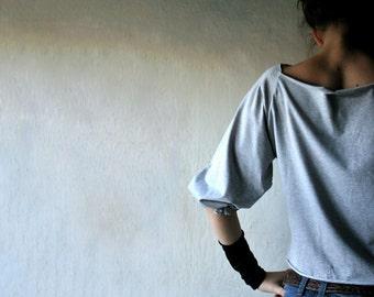 Top, Blouse, Grey top, Grey t-shirt, jersey t-shirt, jersey blouse, crop top, summer top, boat neck top, cotton top, cotton clothes, shirt