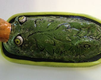 Ceramic Gator Butter/Cheese Dish and Cover SALE PRICE