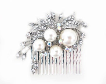 Pearl Hair Comb, Leaf Hair Comb, Bridal Hair Comb, Wedding Hairpiece, Crystal Pearl Hairpiece, Large Ivory Pearl, Art Deco, Bridesmaid, SARA