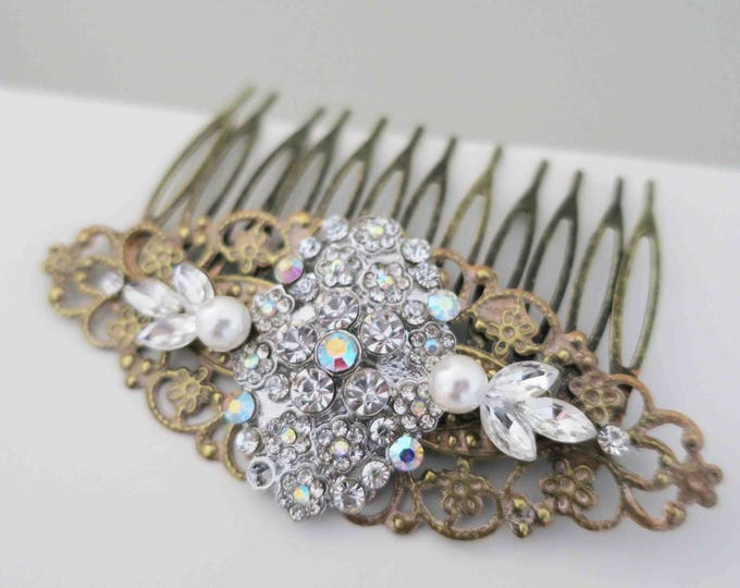 Victorian Styled Pearl Crystal Hair Comb with Rustic Leaf Accents