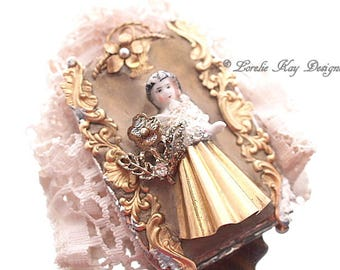 Victorian Inspired Frozen Charlotte Doll Brooch Soldered Doll  Statement Pin Assemblage Pin One-of-a-Kind Assemblage Broach