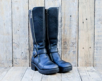 1990s, Us 7, Uk 5, Eu 37, Vintage Motorcycle Boots, Harley Davidson Boots, Tall Motorcycle Boots, Black Leather Boots, Black Biker Boots,