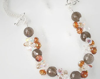 12mm Smoky Quartz gemstones and Swarovski Crystal necklace crystal copper,golden shadow crystal sterling sylver,also worn  as bracelet